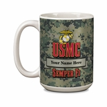 15 OUNCE U.S. MARINE CORPS NAME & RANK PERSONALIZATION WHITE CERAMIC MUG