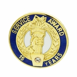 15 YEARS OF SERVICE AWARD PIN WITH SWAROVSKI CRYSTAL