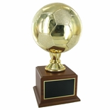 16-1/2 INCH GOLD SOCCER TROPHY WITH 8 INCH DIAMETER BALL ON WALNUT BASE