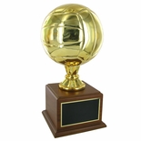 16 INCH GOLD VOLLEYBALL TROPHY WITH 8 INCH DIAMETER BALL ON WALNUT BASE