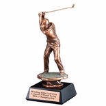 16 MALE GOLF SWING ELECTROPLATED BRONZE ON BLACK BASE