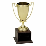 17-1/2 INCH TROPHY GOLD CUP WITH  BLACK PLATE ON WALNUT FINISH BASE