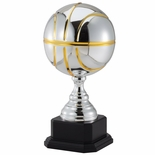17-1/4 INCH TWO TONE BRIGHT SILVER AND GOLD BASKETBALL TROPHY
