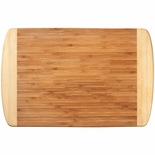 17-3/4 X 11-3/4 INCH LARGE GENUINE BAMBOO TWO TONE CUTTING BOARD