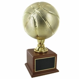 17 INCH GOLD BASKETBALL TROPHY WITH 9 INCH DIAMETER BALL ON WALNUT BASE