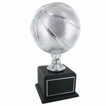 17 INCH SILVER BASKETBALL TROPHY WITH 9 INCH DIAMETER BALL ON BLACK BASE