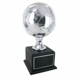 16 INCH SILVER SOCCER TROPHY WITH 8 INCH DIAMETER BALL ON BLACK BASE