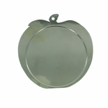 2-1/2 INCH APPLE SHAPED SILVER MEDAL FRAME, HOLDS 2 INCH INSERT