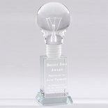 8 X 2-1/2 INCH OPTICAL CRYSTAL LIGHT BULB AWARD