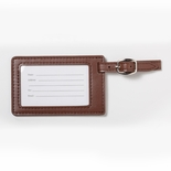 2-3/4x4-1/4 LEATHERETTE LUGGAGE TAG IN TAN
