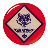 2 INCH CUB SCOUTS MYLAR WITH CLEAR EPOXY DOME