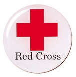 2 INCH RED CROSS MYLAR WITH CLEAR EPOXY DOME