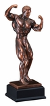 21-1/2 INCH MALE BODY BUILDER ELECTROPLATED ANTIQUE BRONZE TROPHY