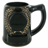 28 OUNCE BLACK BEER MUG WITHOUT 2 INCH INSERT AND PLATE