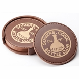 3-1/2 LEATHERETTE COASTERS IN BROWN/TAN FOR LAZER ENGRAVING