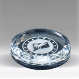 3-1/2 INCH ROUND CRYSTAL PAPERWEIGHT CUT AND BEVELED EDGE