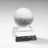 3-1/2 X 2-1/2 INCH OPTICAL CRYSTAL GOLF BALL ON CRYSTAL BASE