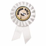 3-1/2 x 6 ROSETTE WHITE RIBBON, 2 STREAMER HOLDS 2 MYLAR INSERT