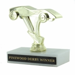 3-3/4 INCH PINEWOOD DERBY TROPHY ON WHITE MARBLE BASE