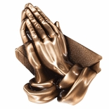 3-3/4 x 5 PRAYING HANDS ANTIQUE BRASS DIE CAST PLAQUE MOUNT