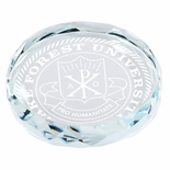 3 x 3/4 INCH ROUND CRYSTAL PAPERWEIGHT CUT AND BEVELED EDGE