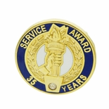 35 YEARS OF SERVICE AWARD PIN WITH SWAROVSKI CRYSTAL