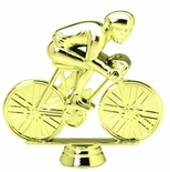 4-1/2 INCH GOLD PLASTIC RACING BICYCLIST TROPHY FIGURE
