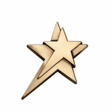 4-1/2 x 5 MEDIUM DOUBLE STAR PLAQUE MOUNT DIE CAST ZINC ANTIQUE BRASS