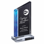 4-1/2 X 8-3/4 ART DECO WEDGE ACRYLIC AWARD WITH BLUE AND BLACK ACCENT