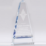 10 X 4-3/4 INCH OPTICAL CRYSTAL MONOLITH TOWER AWARD WITH BLUE ACCENTS