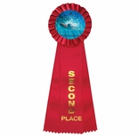 4 x 11 ROSETTE RED 2ND PLACE 3 STREAMER RIBBON