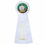 4 x 11 ROSETTE WHITE 3RD PLACE 3 STREAMER RIBBON