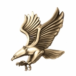 4 x 4 SMALL EAGLE ANTIQUE BRASS DIE CAST PLAQUE MOUNT