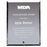 4x 6x 3/8 PREMIUM BEVELED EDGE GLASS AWARD WITH SILVER PINSTAND