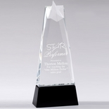 9-3/4 X 4 INCH OPTICAL CRYSTAL STAR TOWER AWARD BLACK CRYSTAL REFLECTIVE BASE