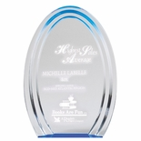 5-1/2 x 8 x 1 OVAL DOUBLE HALO ACRYLIC AWARD WITH REFLECTIVE BLUE CIRCLE