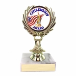 5-1/4 INCH TROPHY RISE WITH 2 INCH MYLAR CITIZENSHIP AWARD INSERT