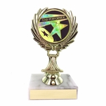 5-1/4 INCH TROPHY RISE WITH 2 INCH MYLAR STAR PERFORMER INSERT