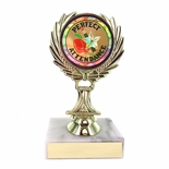 5-1/4 INCH TROPHY RISE WITH 2 INCH MYLAR PERFECT ATTENDANCE INSERT