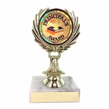 5-1/4 INCH TROPHY RISE WITH 2 INCH PRINCIPAL'S AWARD MYLAR INSERT