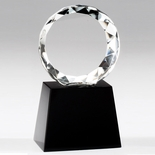 5-1/4 INCH ROUND FACETED BEVEL CUT CRYSTAL MOUNTED ON BLACK CRYSTAL BASE