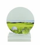 5-1/4 X 4-3/4 INCH GLASS GOLF TROPHY WITH BALL AND COLOR PRINTED GOLF IMAGE