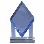 5-3/4 X 5-1/4 INCH DIAMOND SHAPE BLUE OPTICAL CRYSTAL AWARD