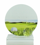 5-3/4 X 5-1/2 INCH GLASS GOLF TROPHY WITH BALL AND COLOR PRINTED GOLF IMAGE