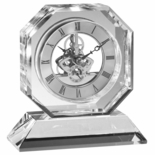 5-3/4 X 5-1/2 INCH SKELETON OCTAGON OPTICAL CRYSTAL CLOCK