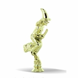 5 INCH GOLD PLASTIC WITCH ON BROOM TROPHY FIGURE