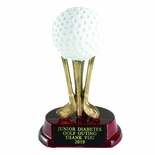 5 INCH RESIN GOLF BALL ON CLUBS TROPHY