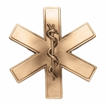 5 x 5 EMT PARAMEDIC STAR OF LIFE DIE CAST ANTIQUE BRASS PLAQUE MOUNT