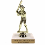6-1/2 INCH BASEBALL TROPHY FIGURE ON MARBLE BASE