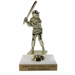 6-1/2 INCH FEMALE SOFTBALL TROPHY FIGURE ON MARBLE BASE